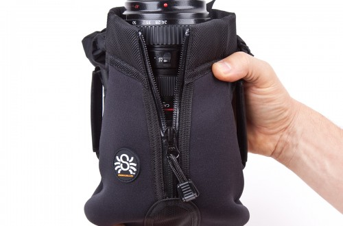 Medium lens with hood on